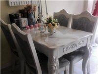 1.2米 欧式餐桌四椅大理石实木框架,非常好、非常新,需要的抓紧,价格可议!