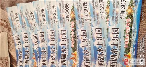 滑縣西湖水上樂園的門票9張