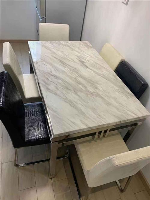 餐桌大理石面 长1.35*0.8米,带6把套色皮椅子。9成新,600元,今天要的,立减100元 非诚...