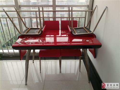 1.2米长餐桌,宽0.7米,带四把皮面餐椅,价格可议!