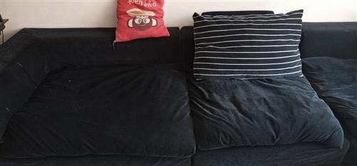 自家用的黑色布艺沙发,3.4长,沈阳红星美凯龙买的,只支持自取。199块钱。