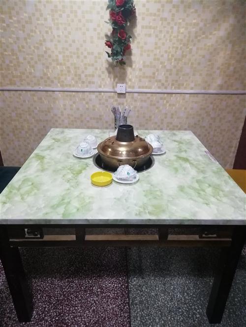 九九成新高檔大理石火鍋桌子破產處理。450一套送長條凳。嘉峪關自提13079308868