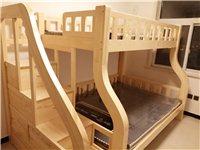 **實木步梯有安全攔板 上下床,包括上下鋪兩個海綿棕墊,步梯加儲物箱長2.65米,寬1.6米,下鋪1...