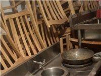 二手水池、双眼液化气炒灶、桌椅处理