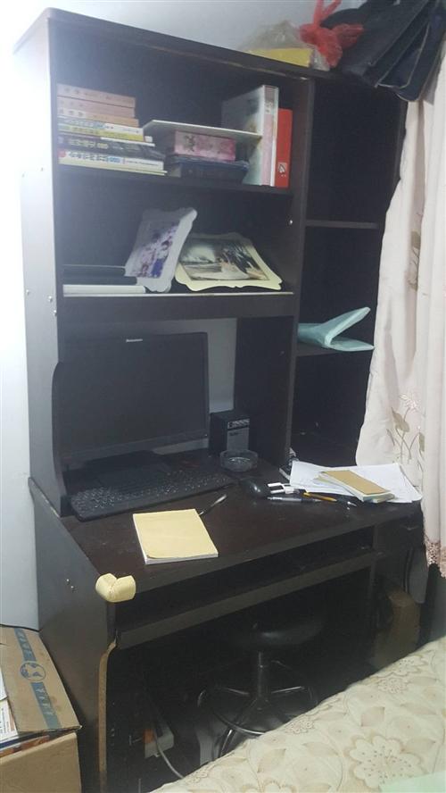 闲置木书桌,电脑桌,带书架棕色,在电大附近,有需要的自取。