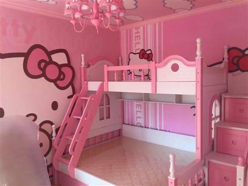 儿童上下铺床,粉色!十成新,有需要的电联