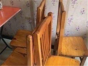 转让饭店闲置实木圆桌,实木凳子