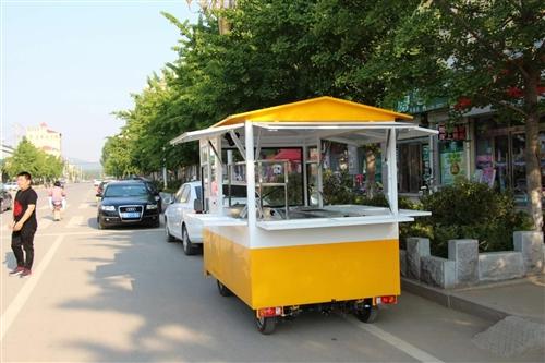 小吃车,今年五月份买的,用了两个月,九成新,主要有炸串、煎饼果子、肉夹馍、烤串,橙色