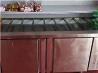八成新保鲜点菜柜,带二十个不锈钢带盖盆,三层置物架,下带冷冻柜