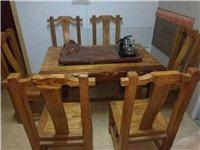 实木,老榆木,一桌六把椅子加茶具800元