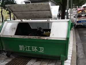 盛黔前�^垃圾桶堵人行道,行人�^往不便。