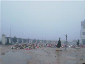 村后的垃圾堆成山